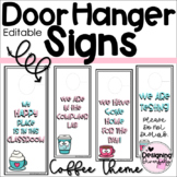 Where Are We and Do Not Disturb Door Hanger Signs | Coffee Theme | EDITABLE
