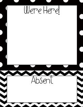 Black & White, Polka Dot & Chevron Themed Where Are You Chart