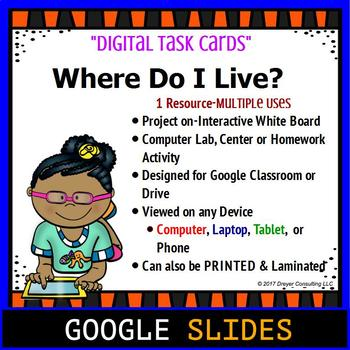 Distance Learning Google Classroom Where Do I Live By Digital Den Children will enjoy talking about the unusual animals from around the world, including turtles under the sea, camels in the desert. teachers pay teachers