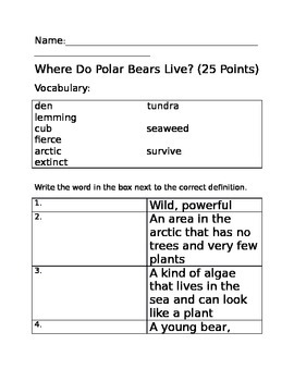 Where Do Polar Bears Live? Quiz