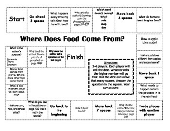 """Where Does Food Come From?"" Comprehension Game Board- Journeys story 1st grade"