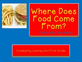 Where Does Food Come From I Have Who Has (Journeys Common