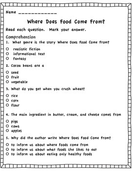 Where Does Food Come From? Journeys Assessment