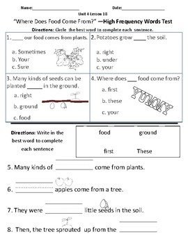 Where Does Food Come From? - Vocabulary & Comprehension Test/Quiz (Journeys)