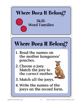 Where Does It Belong? (Word Families)