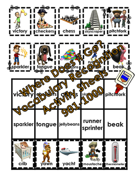 Where Does it Go? - Vocabulary Cut and Paste Activities 901-1000