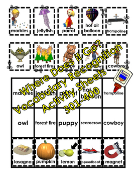 Where Does it Go? - Vocabulary Cut and Paste Activities 301-400
