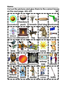 Where Does it Go? - Vocabulary Cut and Paste Activities 401-500