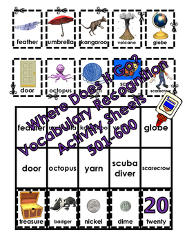 Where Does it Go? - Vocabulary Cut and Paste Activities 501-600