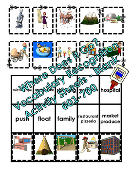 Where Does it Go? - Vocabulary Cut and Paste Activities 601-700