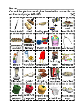 Where Does it Go? - Vocabulary Cut and Paste Activities 801-900