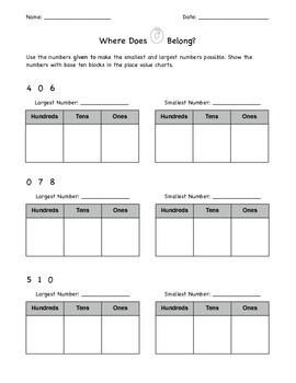 Place Value Worksheet: Where Does the 0 Belong?