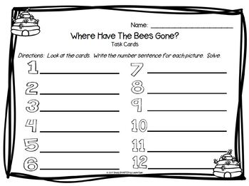 Where Have The Bees Gone?:  LOW PREP Subtraction Task Cards