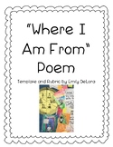 Where I Am From Poem Template and Rubric