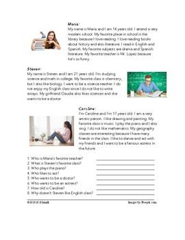 English - 4 Readings!  My House, School, Sports, Family - ESL / EFL / ELL