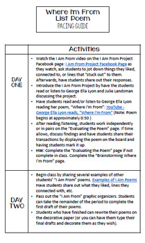 Where I'm From: List Poem Activity for Secondary Students