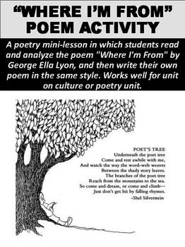 """""""Where I'm From"""" Poem Worksheet"""