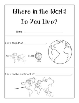 Where In The World Do You Live Editable Map Booklet By 4 Little Baers (वेयर डू यू लीव ?) which one is correct ' i live in' or ' i live at'. where in the world do you live editable map booklet