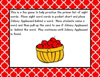 Where Is Johnny Appleseed?  Sight Words - Primer Level