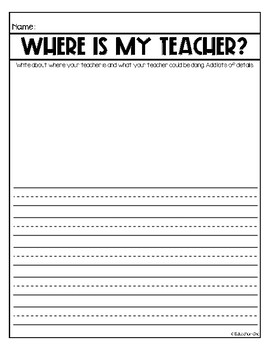 Where Is My Teacher? Substitute Writing Activity FREEBIE