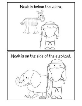 Where Is Noah? Preposition Booklet in Black & White