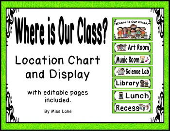 Where Is Our Class? Location Chart – Bright Green