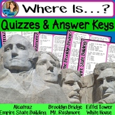 Where Is? Quiz and Answer Key for Modern Structures Books