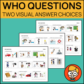 Who Questions with Two Visual Answer Choices