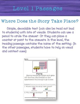 Where Story Settings Special Ed Reading Comprehension Passages autism