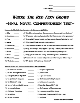 Where The Red Fern Grows Final Novel Comprehension Test & Answer Key