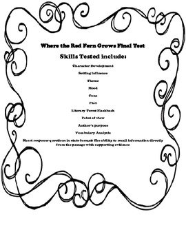 Where The Red Fern Grows final test in state testing format