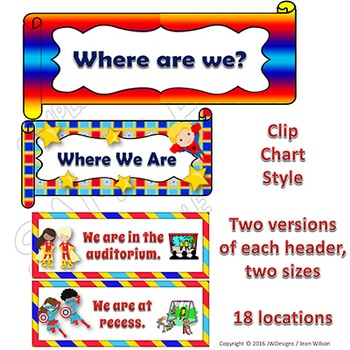 Where We Are At Door Signs - Superhero Themed EDITABLE