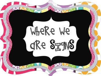 Where We Are Chalkboard Theme Posters