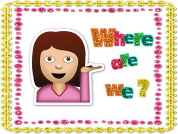 Where We Are Clipchart {Emoji & Neon Glitter}