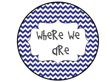 Where We Are Navy Chevron Posters