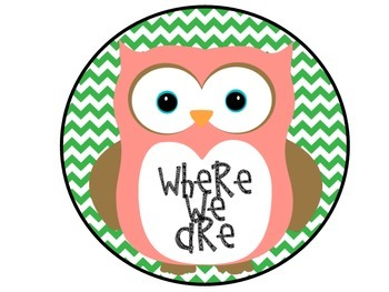 Where We Are Owls and Green Chevron Posters