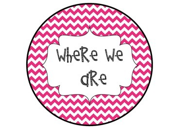Where We Are Pink Chevron Posters