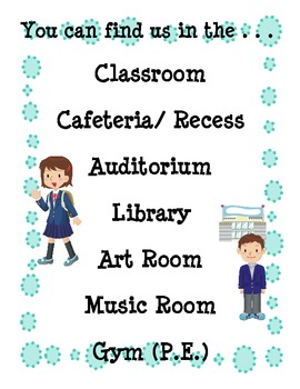 """""""Where We Are"""" classroom door sign"""