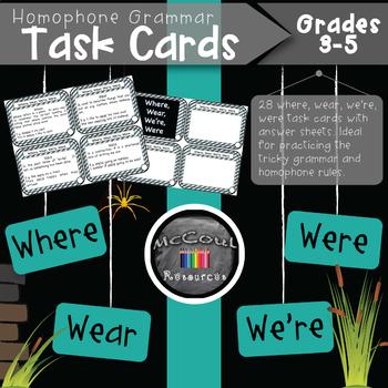 Where Wear We're Were Homophone Grammar Task Cards