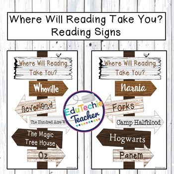 Where Will Reading Take You? {Directional Reading Sign for Classroom or Library}