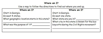 Where am I? 5th grade Georgia Performance Standards Geography