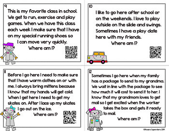 Making Inferences Task Cards ~ Where am I? Riddles with Optional QR Codes