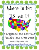 Where am I in the US? Longitude and Latitude Foldable and