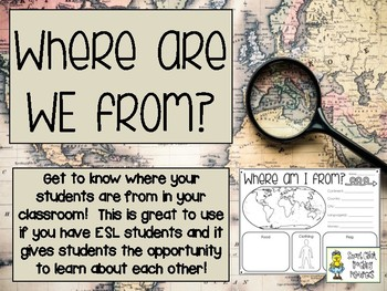 Where are WE from? - Poster Project to Learn about Each Other