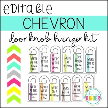 Editable Chevron Door Knob Hangers