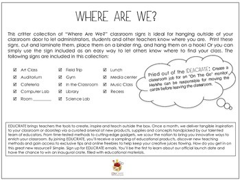 Where are We? Classroom Door Signs - CRITTERS!