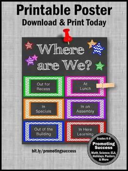 Where are We Door Sign, Classroom Door Decoration, Printable Classroom Poster