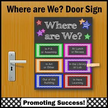 Where are We Door Sign with Specials Classroom Door Decoration, Classroom Poster