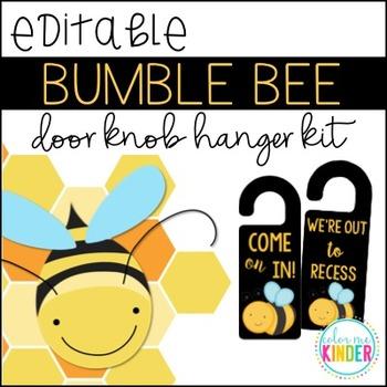 Editable Bumble Bee Themed Door Knob Hangers