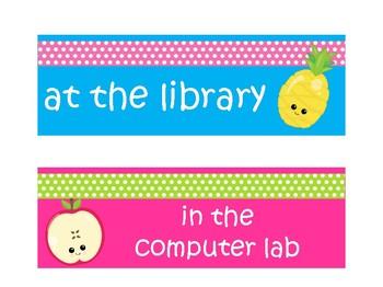 Where are we door display Fruit theme